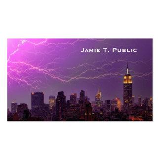 Mammoth Lightning Strike On Midtown NYC Skyline #3 Pack Of Standard Business Cards