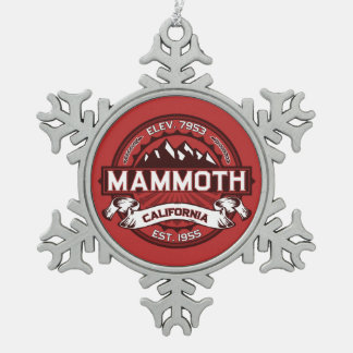 Mammoth Logo Snowflake Pewter Christmas Ornament