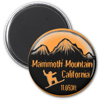 Mammoth Mountain California snowboard art magnet