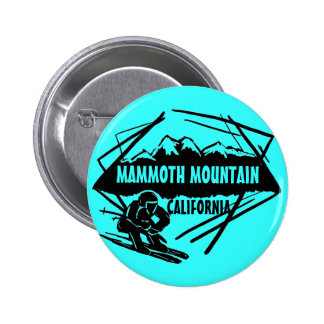 Mammoth Mountain California teal ski logo button