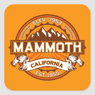 Mammoth Mtn Tangerine Square Sticker