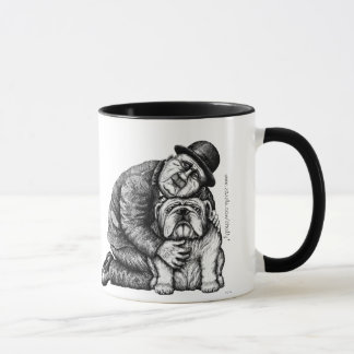 Man and bulldog ink pen drawing art mug
