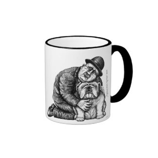 Man and bulldog ink pen drawing art mug