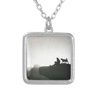 Man and Dog Bond on the Mountain Silver Plated Necklace
