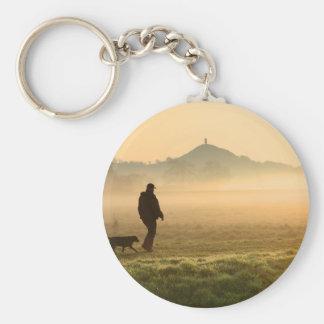 Man and Dog Mountain Mist Basic Round Button Key Ring
