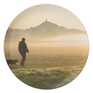 Man and Dog Mountain Mist Dinner Plate