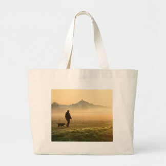 Man and Dog Mountain Mist Large Tote Bag