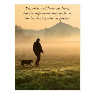 Man and Dog Mountain Mist Postcard
