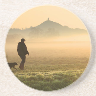 Man and Dog Mountain Mist Sandstone Coaster