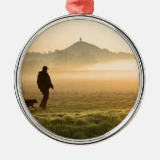 Man and Dog Mountain Mist Silver-Colored Round Decoration