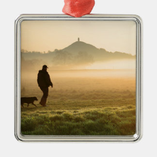Man and Dog Mountain Mist Silver-Colored Square Decoration