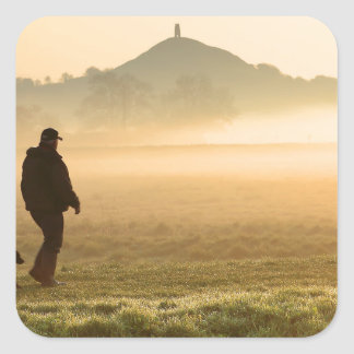Man and Dog Mountain Mist Square Sticker