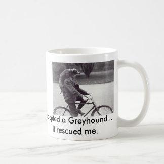 Man and greyhound on bicycle in England, Basic White Mug
