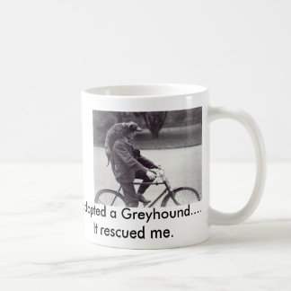 Man and greyhound on bicycle in England, Coffee Mug