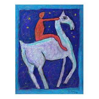 MAN AND HORSE BY IAN ROZ POSTCARD