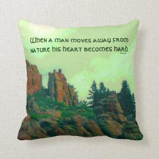 man and nature lakota proverb throw pillow