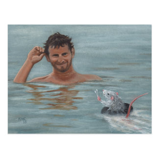 Man and rat swimming cotton swab Postcard