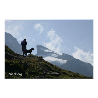 Man and the dog hiking poster