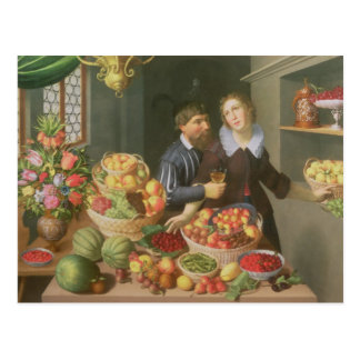 Man and Woman Before a Table Postcard
