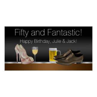Man and Woman Birthday Party Banner Poster