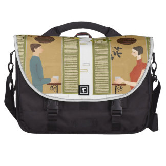 Man and Woman Drinking Coffee Commuter Bags