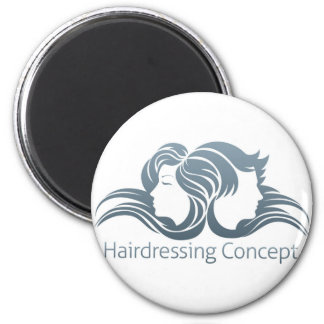 Man and Woman Hair Concept 6 Cm Round Magnet