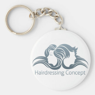 Man and Woman Hair Concept Basic Round Button Key Ring