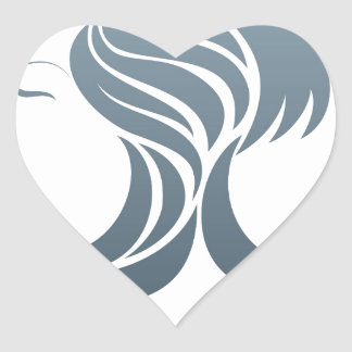 Man and Woman Hair Concept Heart Sticker