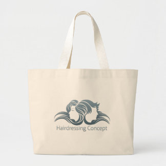 Man and Woman Hair Concept Large Tote Bag