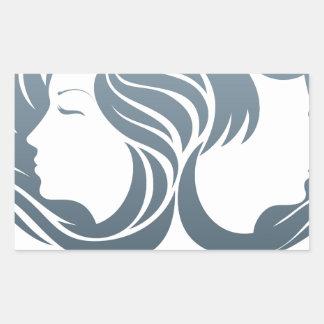 Man and Woman Hair Concept Rectangular Sticker