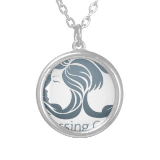 Man and Woman Hair Concept Round Pendant Necklace