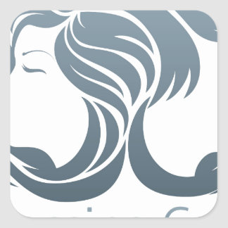 Man and Woman Hair Concept Square Sticker