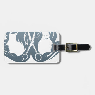Man and woman hairdresser scissors concept bag tag