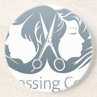 Man and woman hairdresser scissors concept beverage coasters