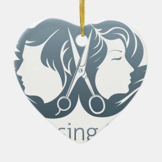 Man and woman hairdresser scissors concept ceramic heart decoration