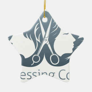 Man and woman hairdresser scissors concept ceramic star decoration