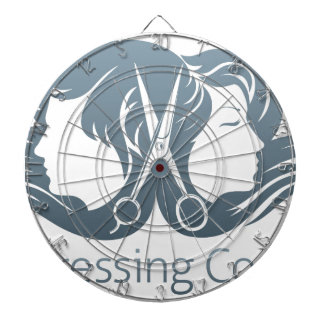 Man and woman hairdresser scissors concept dartboard with darts
