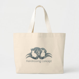 Man and woman hairdresser scissors concept large tote bag