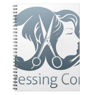 Man and woman hairdresser scissors concept notebooks