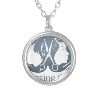 Man and woman hairdresser scissors concept round pendant necklace