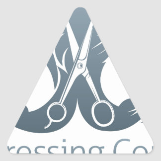 Man and woman hairdresser scissors concept triangle sticker