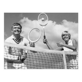 Man and Woman Playing Tennis Postcard