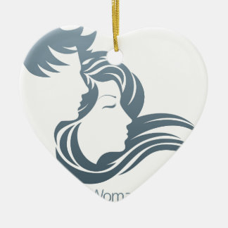 Man and Woman Profile Concept Ceramic Heart Decoration