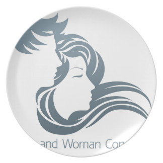 Man and Woman Profile Concept Dinner Plates
