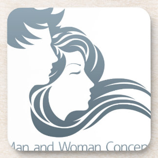 Man and Woman Profile Concept Drink Coaster