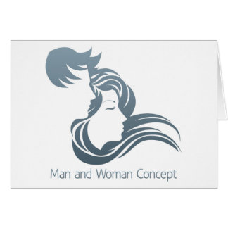 Man and Woman Profile Concept Greeting Card
