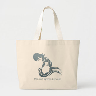 Man and Woman Profile Concept Large Tote Bag