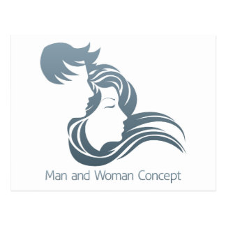 Man and Woman Profile Concept Postcard