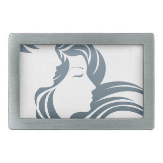 Man and Woman Profile Concept Rectangular Belt Buckle