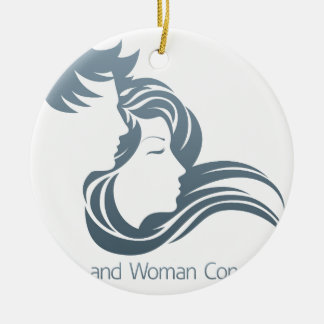 Man and Woman Profile Concept Round Ceramic Decoration